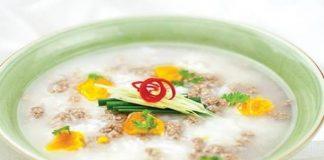 Cháo rau chân vịt trứng muối