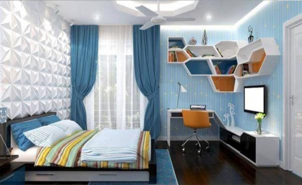 Phòng ngủ màu xanh da trời