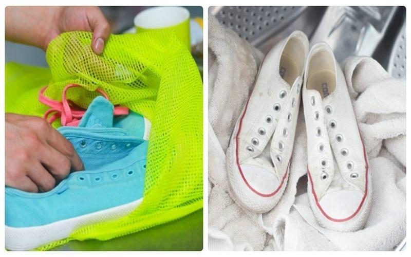 Sử dụng túi giặt khi giặt giày bằng máy