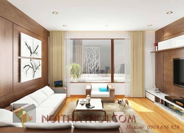 Thiết kế sofa gỗ góc phòng khách đẹp nhất