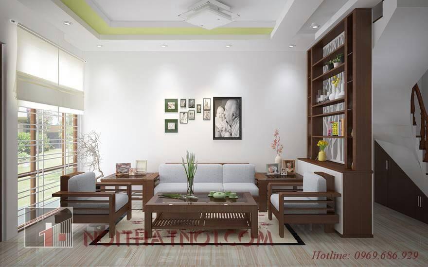 Mẫu sofa gỗ phòng khách hiện đại đẹp