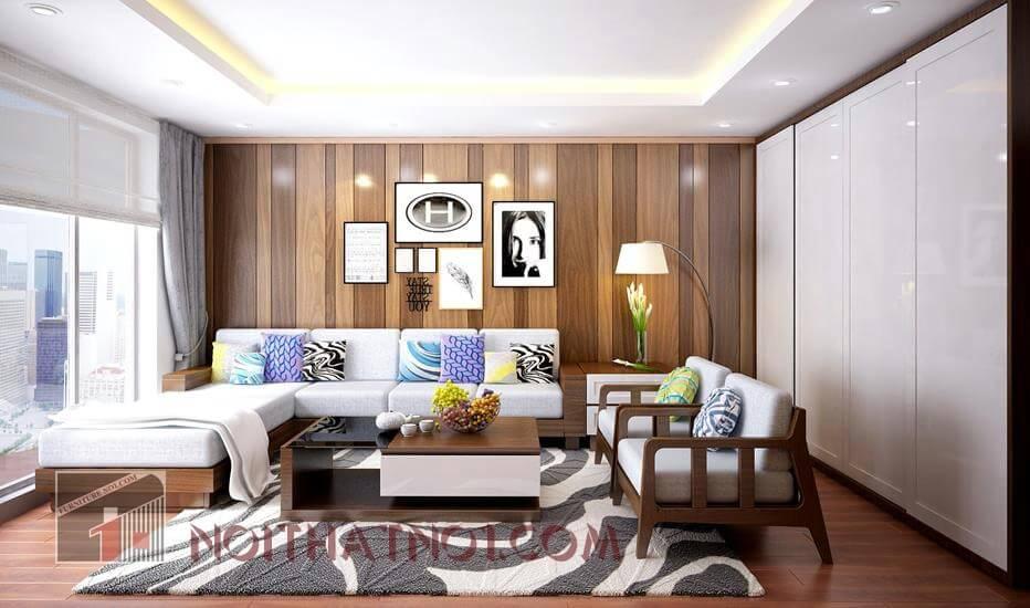 Bài trí sofa gỗ nhỏ gọn cho nhà chung cư